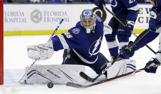 Tampa Bay Lightning goaltender Andrei Vasilevskiy (88) makes a save on a shot by the Toronto Maple Leafs during the first period of an NHL hockey game Thursday, Dec. 13, 2018, in Tampa, Fla. (AP Photo/Chris O'Meara)