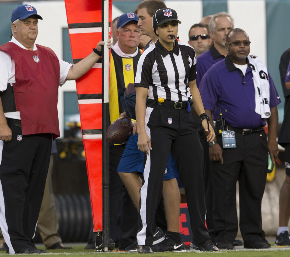 Each XFL officiating crew will have one woman, including Maia Chaka, center. (Mitchell Leff/Getty Images)