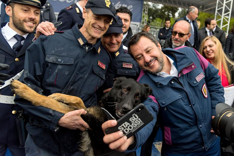 Italian Deputy Premier and Interior Minister Matteo Salvini takes a selfie with police officers and a dog during the Police 167th anniversary celebration on the terrace of the Pincio in the presence of the highest offices of the State on April 10, 2019 in Rome, Italy. (Photo: Stefano Montesi - Corbis/Corbis via Getty Images)