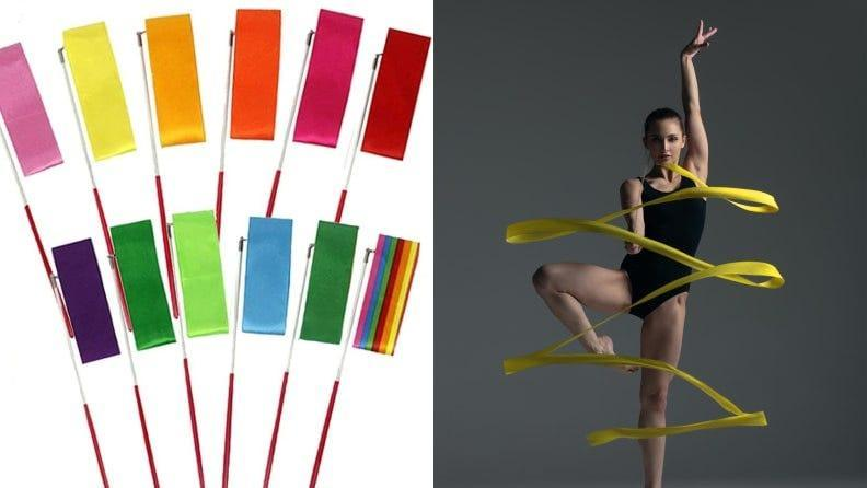 Enhance the fluid motions of rhythmic gymnastics with some ribbons.