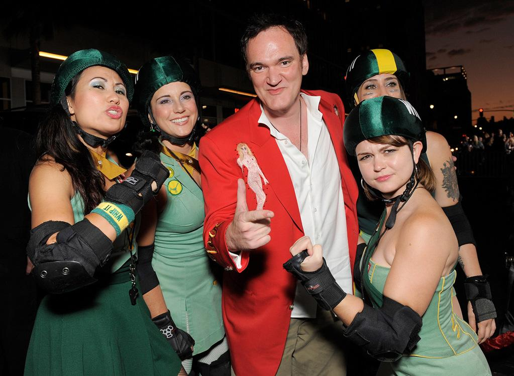 """<a href=""""http://movies.yahoo.com/movie/contributor/1800021942"""">Quentin Tarantino</a> and The Derby Dolls at the Los Angeles premiere of <a href=""""http://movies.yahoo.com/movie/1810036665/info"""">Whip It!</a> - 09/29/2009"""