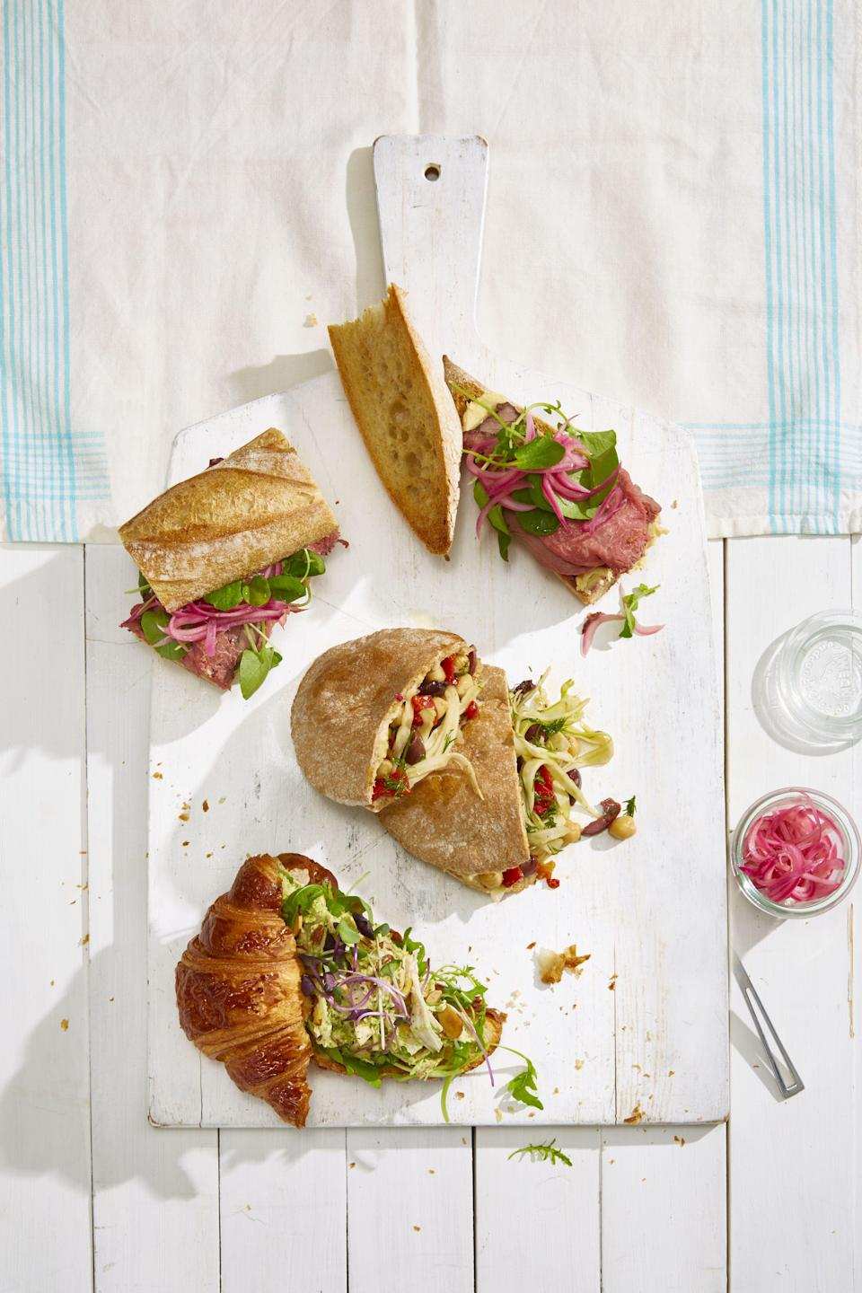 """<p>Warmer weather and sunnier skies have us dreaming about beach days, backyard hangouts (with delicious <a href=""""https://www.goodhousekeeping.com/food-recipes/easy/g27408619/bbq-side-dishes/"""" rel=""""nofollow noopener"""" target=""""_blank"""" data-ylk=""""slk:barbecue side dishes"""" class=""""link rapid-noclick-resp"""">barbecue side dishes</a>, of course!), and plenty of picnic food ideas. And we're not talking about your typical al fresco fare — we've rounded up picnic food ideas that'll please kids and adults — colorful <a href=""""https://www.goodhousekeeping.com/food-recipes/healthy/g908/vegetarian-recipes/"""" rel=""""nofollow noopener"""" target=""""_blank"""" data-ylk=""""slk:vegetarian recipes"""" class=""""link rapid-noclick-resp"""">vegetarian recipes</a> as well as hearty meat lovers' eats. It's the perfect time of year to pack a wicker basket, break out a checkered blanket, and head to your favorite patch of grass (the backyard counts!) to soak up some sun.</p><p>So what food do you bring to a picnic? The key to great picnic food is an array of sides, snacks, or apps that don't have to be served at a particular temperature — nothing ruins a day in the park faster than your steaming meatball sub melting the ice cream it was packed with. Room temperature food is best, or options that can sit for a bit without losing flavor. Some of the recipes we recommend, like grain salads or hearty baguette sandwiches, actually get better as they sit and the flavors meld. Bonus points for <a href=""""https://www.goodhousekeeping.com/food-recipes/easy/g4900/easy-make-ahead-meals/"""" rel=""""nofollow noopener"""" target=""""_blank"""" data-ylk=""""slk:easy make-ahead meals"""" class=""""link rapid-noclick-resp"""">easy make-ahead meals</a> that you can prep the day before— which means more time outside and less time in the kitchen. And brownie points for anyone who brings dessert— because there's nothing better than ending a serene day with a little something sweet.</p>"""