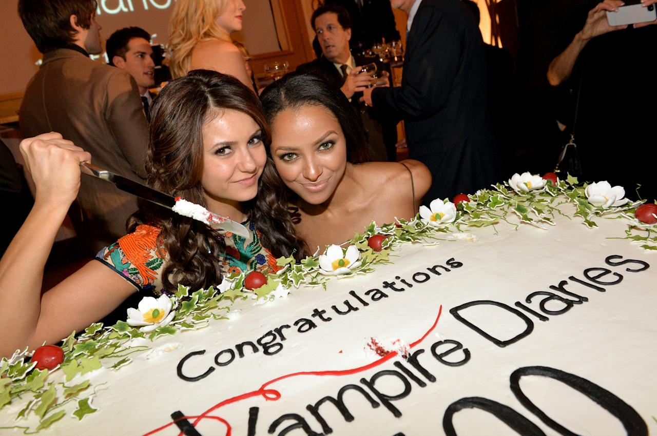 ATLANTA, GA - NOVEMBER 09: Actors Nina Dobrev and Kat Graham attend The Vampire Diaries 100th Episode Celebration on November 9, 2013 in Atlanta, Georgia. (Photo by Rick Diamond/Getty Images for Warner Bros)