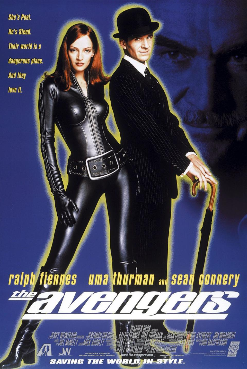 The poster for The Avengers, featuring Uma Thurman, Ralph Fiennes and Sean Connery. (Warner Bros)