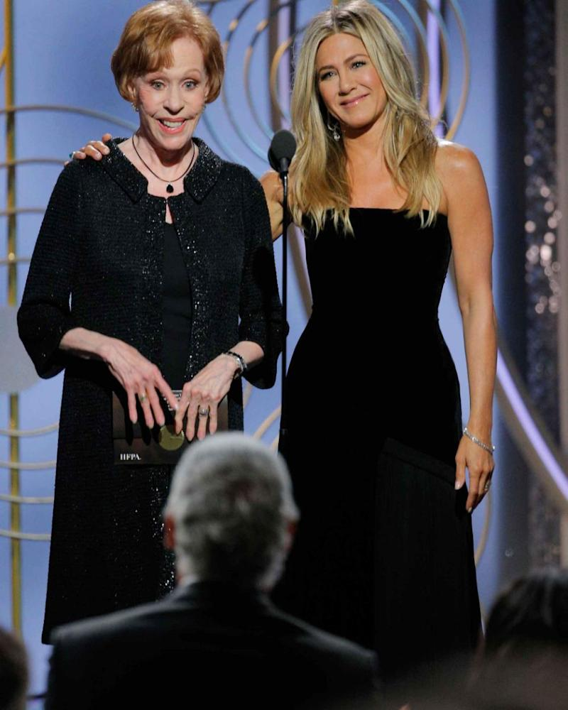 Jen eventually made an appearance presenting an award with Carol Burnett. Source: Getty