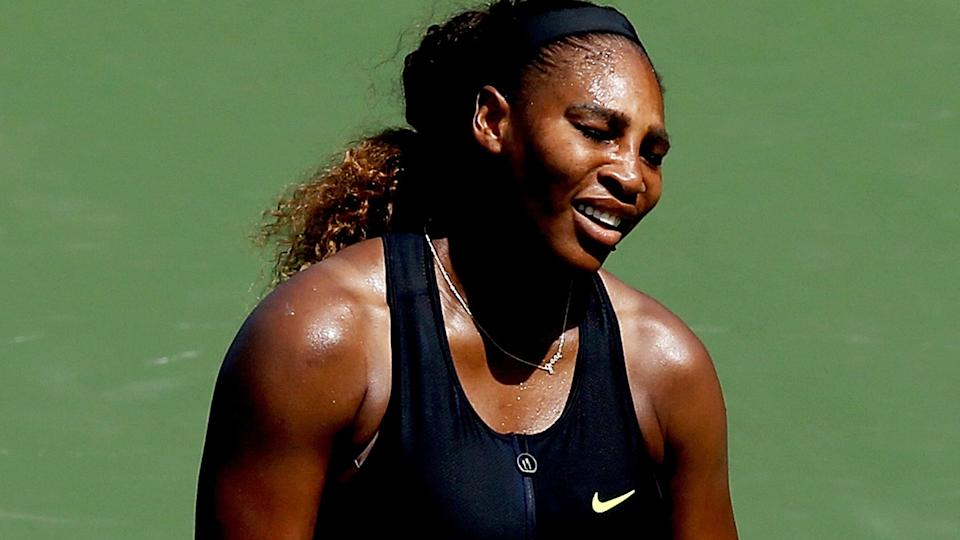 Serena Williams reacts to losing a point at the Western and Southern Open.