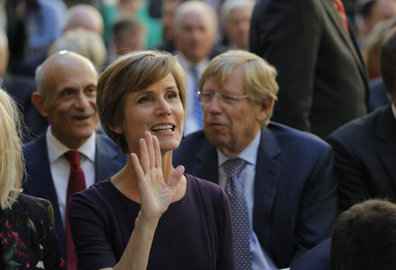 Former Deputy U.S. Attorney General Sally Yates arrives for the ceremony at FBI headquarters on Sept. 28, 2017. (Carlos Barria / Reuters)