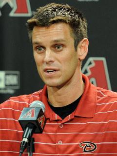 Jerry Dipoto is pictured in a July, 2010 press conference while a member of the Arizona organization