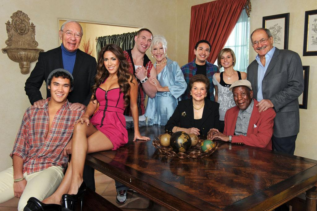 """The cast of """"Forever Young,"""" a new unscripted TV Land series premiering Wednesday, April 3 at 10pm ET/PT with two back-to-back episodes. Standing, from left: Arthur Albert, Mike Markiewicz, Shirley Claire, Christian Taboada, Angelina Mazzone and Lou Cordileone Seated, from left: Sam McLaughlin, Andree Martinez, Emileen Hanna and Eugene Palmer"""