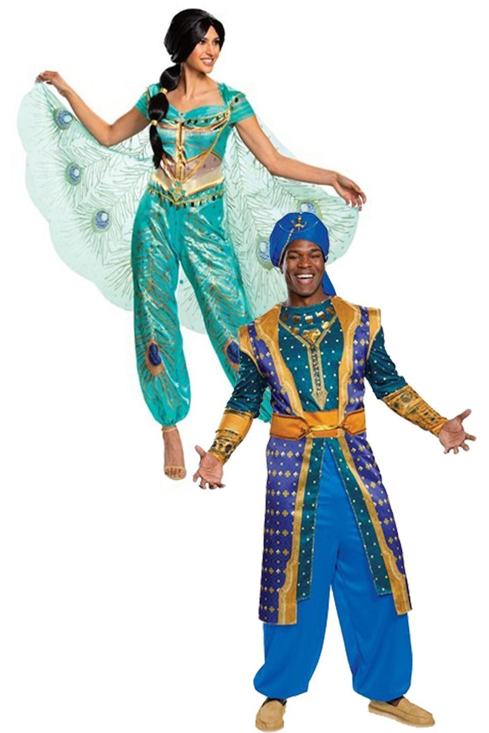 """<p>Who says a princess needs a prince on her arm? The Genie costume is the perfect look for your favorite funny man who can't help cracking jokes.</p><p><a class=""""link rapid-noclick-resp"""" href=""""https://go.redirectingat.com?id=74968X1596630&url=https%3A%2F%2Fwww.halloweencostumes.com%2Fdisney-aladdin-live-action-womens-jasmine-costume.html&sref=https%3A%2F%2Fwww.womansday.com%2Fstyle%2Fg28691602%2Fdisney-couples-costumes%2F"""" rel=""""nofollow noopener"""" target=""""_blank"""" data-ylk=""""slk:SHOP JASMINE COSTUME"""">SHOP JASMINE COSTUME</a></p><p><strong><a class=""""link rapid-noclick-resp"""" href=""""https://go.redirectingat.com?id=74968X1596630&url=https%3A%2F%2Fwww.halloweencostumes.com%2Faladdin-live-action-adult-genie-costume.html&sref=https%3A%2F%2Fwww.womansday.com%2Fstyle%2Fg28691602%2Fdisney-couples-costumes%2F"""" rel=""""nofollow noopener"""" target=""""_blank"""" data-ylk=""""slk:SHOP GENIE COSTUME"""">SHOP GENIE COSTUME</a></strong></p>"""