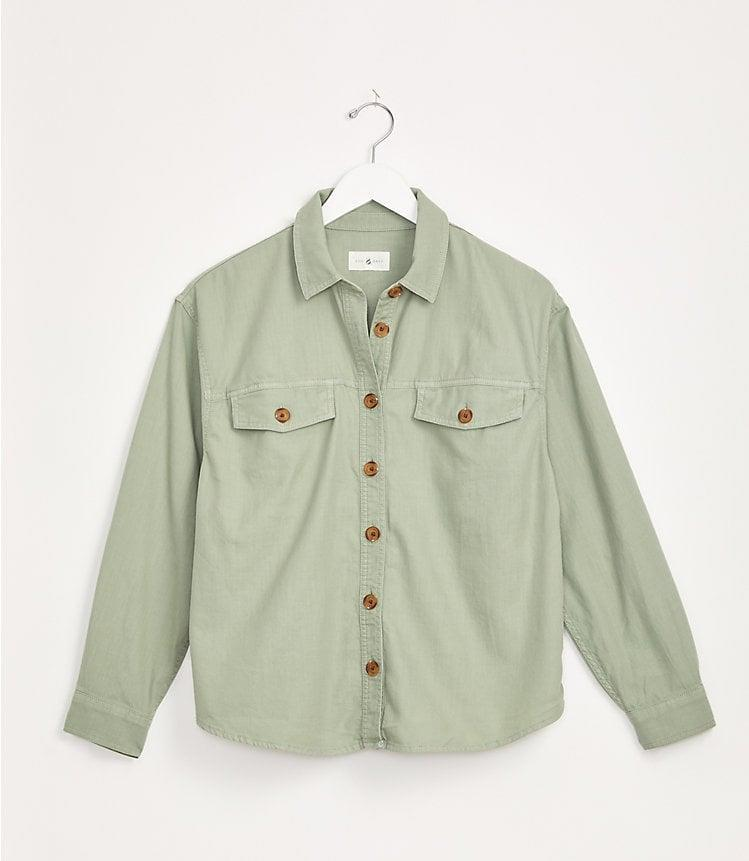 <p>The color of this <span>Lou & Grey Utility Shirt</span> ($80) is so chic.</p>