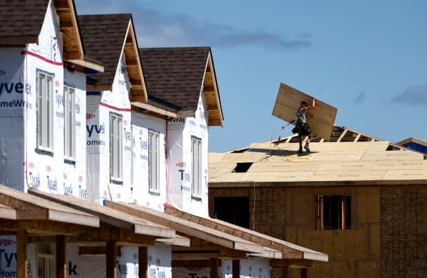A builder carries a sheet of wood on the roof of a home in a new subdivision in Ottawa's Kanata suburb on July 30, 2021.  (Justin Tang/The Canadian Press - image credit)