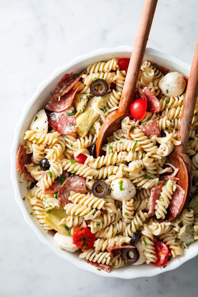 """<p>Don't show up to a summer hangout without the pasta salad. </p><p>Get the recipe from <a href=""""https://www.delish.com/cooking/recipe-ideas/a19601468/easy-pasta-salad-recipe/"""" target=""""_blank"""">Delish</a>.</p><p><a class=""""body-btn-link"""" href=""""https://www.amazon.com/Lipper-International-1188-Acacia-Servers/dp/B008EQAMNC?tag=syn-yahoo-20&ascsubtag=%5Bartid%7C1782.g.4627%5Bsrc%7Cyahoo-us"""" target=""""_blank"""">BUY NOW</a> Wooden Serving Spoons, $8.95<br></p>"""