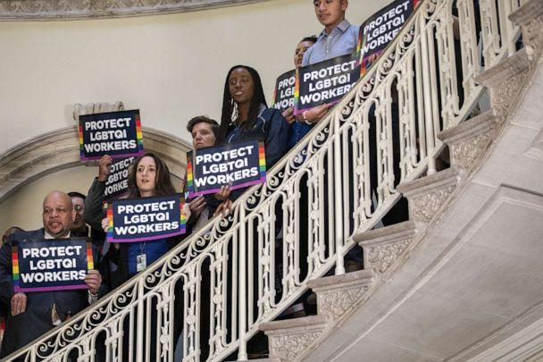 PHOTO: Activists rally in support of LGBTQ rights at New York City Hall on Oct. 8, 2019 in New York City. (Drew Angerer/Getty Images)