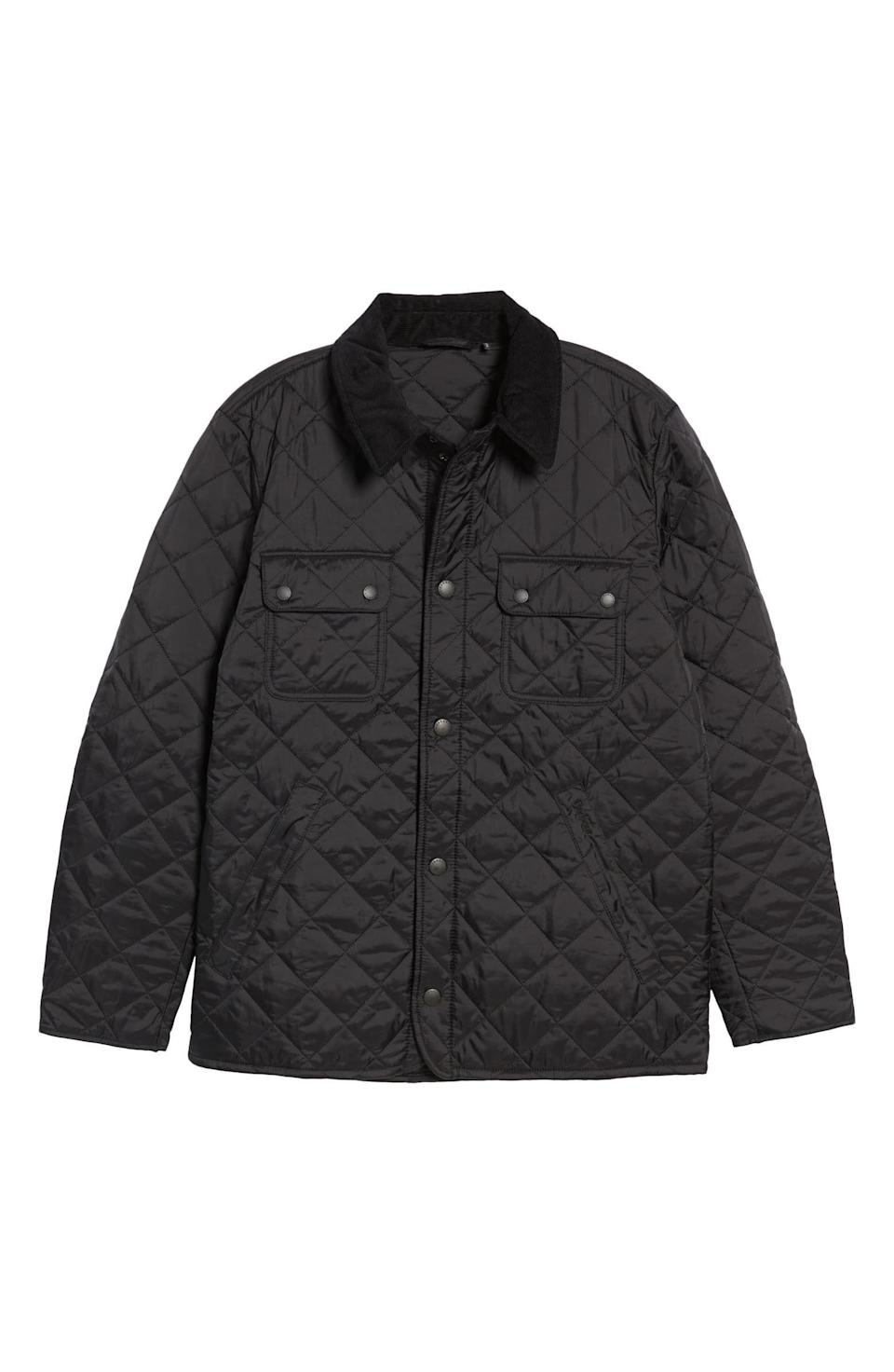 """<p><strong>Barbour</strong></p><p>nordstrom.com</p><p><strong>$129.90</strong></p><p><a href=""""https://go.redirectingat.com?id=74968X1596630&url=https%3A%2F%2Fwww.nordstrom.com%2Fs%2Fbarbour-tinford-regular-fit-quilted-jacket%2F3525186&sref=https%3A%2F%2Fwww.menshealth.com%2Fstyle%2Fg33510339%2Fnordstrom-anniversary-sale-2020%2F"""" rel=""""nofollow noopener"""" target=""""_blank"""" data-ylk=""""slk:Shop Now"""" class=""""link rapid-noclick-resp"""">Shop Now</a></p><p><del><strong>$200</strong></del> <strong>$129.90 (35% off)</strong></p><p>You're going to get a lot of mileage out this jacket once the temperature drop. Between its corduroy collar, diamond-quilted detailing, and adjustable side snaps to ensure a comfortable fit, this layer is equal parts practical and pretty. </p>"""
