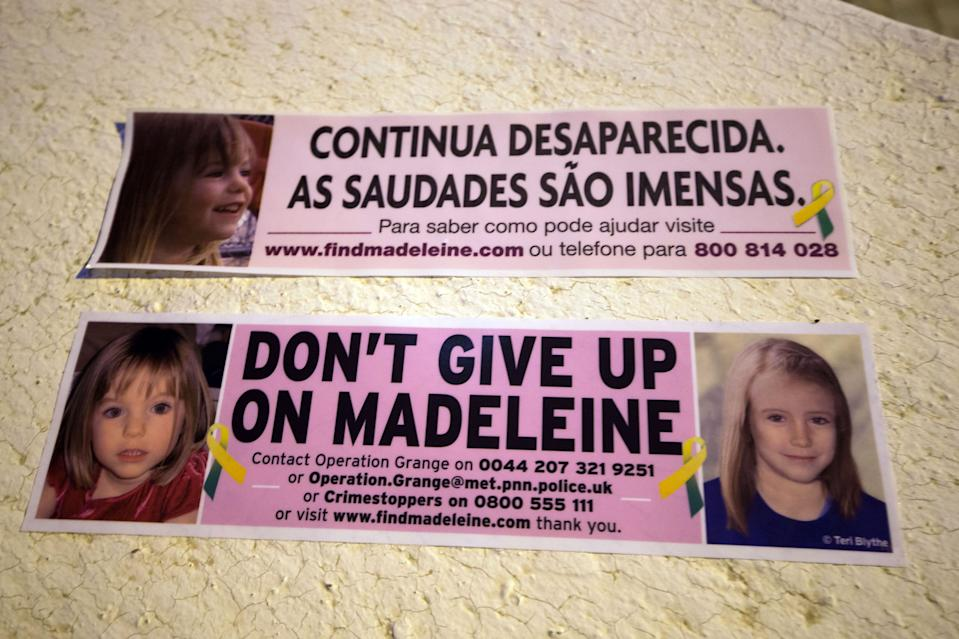 Car bumper stickers raising awareness of Madeleine McCann are handed out inside the Church of Nossa Senhora da Luz in Praia Da Luz, Portugal, where a special service was held to mark the 10th anniversary of her disappearance.