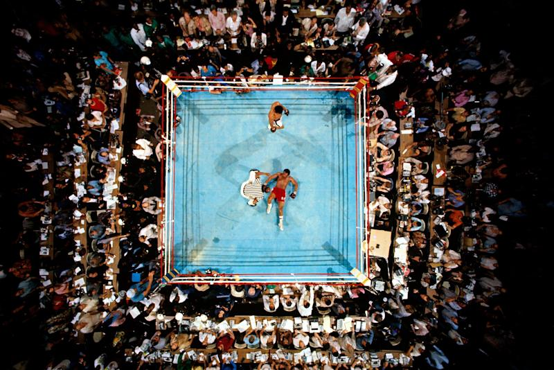 Foreman on the mat in the Ali fight.