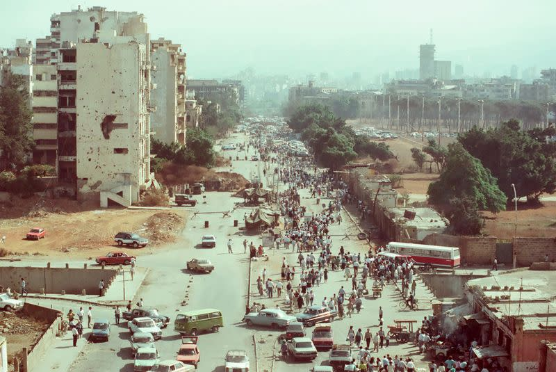 """People cross a checkpoint on the """"Green Line"""", in Beirut"""