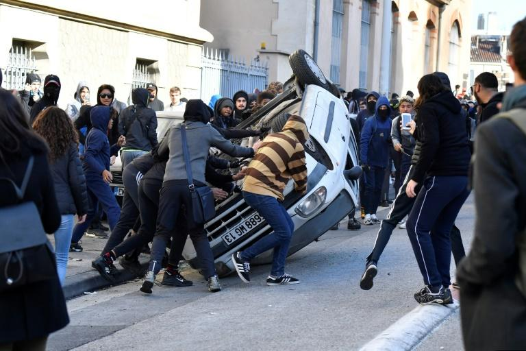 Protests erupted in several cities in France over education reforms