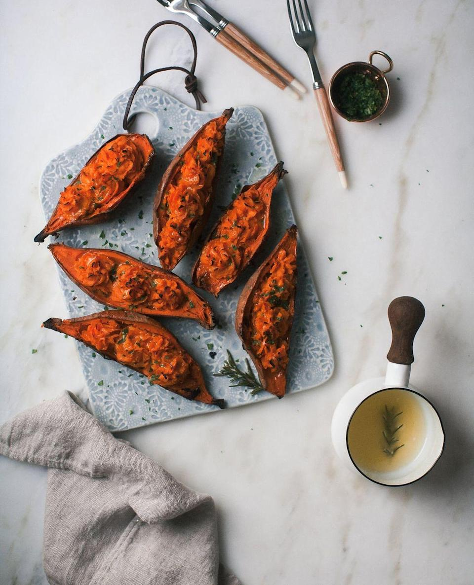 "<p>Comté cheese is mixed in to the sweet potato and then baked again for a super-rich bite.</p><p><strong>Get the recipe at <a href=""https://www.acozykitchen.com/baked-sweet-potatoes-comte"" rel=""nofollow noopener"" target=""_blank"" data-ylk=""slk:A Cozy Kitchen"" class=""link rapid-noclick-resp"">A Cozy Kitchen</a>.</strong></p><p><strong><a class=""link rapid-noclick-resp"" href=""https://go.redirectingat.com?id=74968X1596630&url=https%3A%2F%2Fwww.walmart.com%2Fbrowse%2Fhome%2Fthe-pioneer-woman-dish-sets%2F4044_623679_639999_9763521_2314525&sref=https%3A%2F%2Fwww.thepioneerwoman.com%2Ffood-cooking%2Fmeals-menus%2Fg33251890%2Fbest-thanksgiving-sides%2F"" rel=""nofollow noopener"" target=""_blank"" data-ylk=""slk:SHOP DINNERWARE"">SHOP DINNERWARE</a><br></strong></p>"
