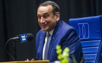 Duke University basketball coach Mike Krzyzewski speaks during an NCAA college basketball news conference Thursday, June 3, 2021, at Cameron Indoor Stadium in Durham, N.C. Krzyzewski, the winningest coach in the history of Division I men's college basketball announced that next season will be his last with the Blue Devils program he has built into one of college basketball's bluebloods. The school named former Duke player and associate head coach Jon Scheyer as his successor for the 2022-23 season. (Travis Long/The News & Observer via AP)
