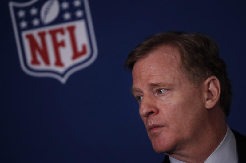 Roger Goodell announced a policy change that punishes players who take a knee during the national anthem on gameday. (AP)