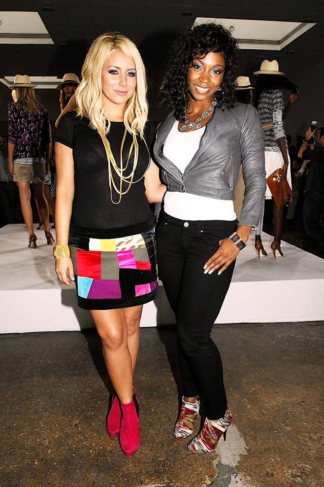 "Danity Kane's Aubrey O'Day and D. Woods turned out for Tory Burch's show. Aubrey committed multiple fashion crimes with her see-through top, color-block skirt, and bright boots, but D. impressed in a cropped jacket and funky heels. Paul Warner/<a href=""http://www.wireimage.com"" target=""new"">WireImage.com</a> - September 8, 2008"