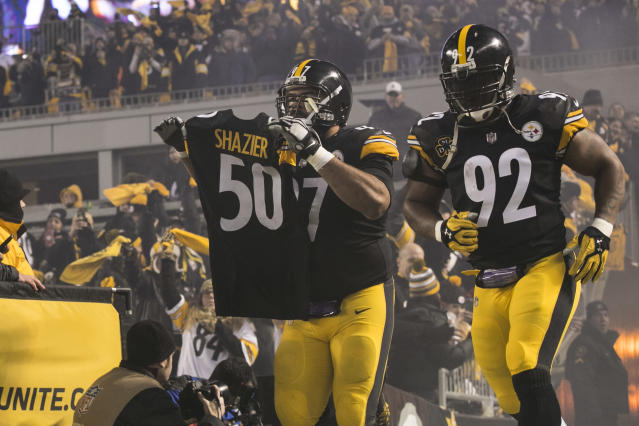 <p>Pittsburgh Steelers Defensive End Cameron Heyward (97) and Pittsburgh Steelers Linebacker James Harrison (92) run out on the field with teammate Pittsburgh Steelers Linebacker Ryan Shazier (50) jersey during the game between the Baltimore Ravens and the Pittsburgh Steelers on December 10, 2017 at Heinz Field in Pittsburgh, Pa. (Photo by Mark Alberti/ Icon Sportswire) </p>
