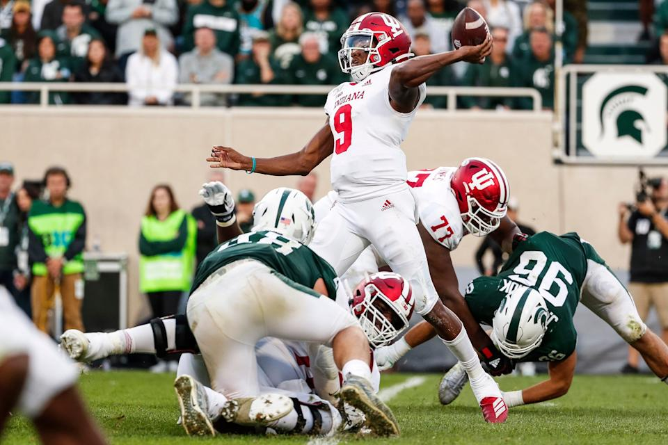 Indiana quarterback Michael Penix Jr. passes against Michigan State during the second half at Spartan Stadium in East Lansing, Saturday, Sept. 28, 2019.