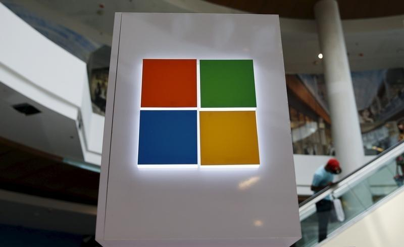 A Microsoft logo is seen at a pop-up site for the new Windows 10 operating system at Roosevelt Field in Garden City