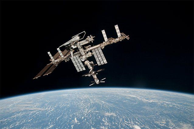 The International Space Station orbits Earth. ESA/NASA/Getty Images