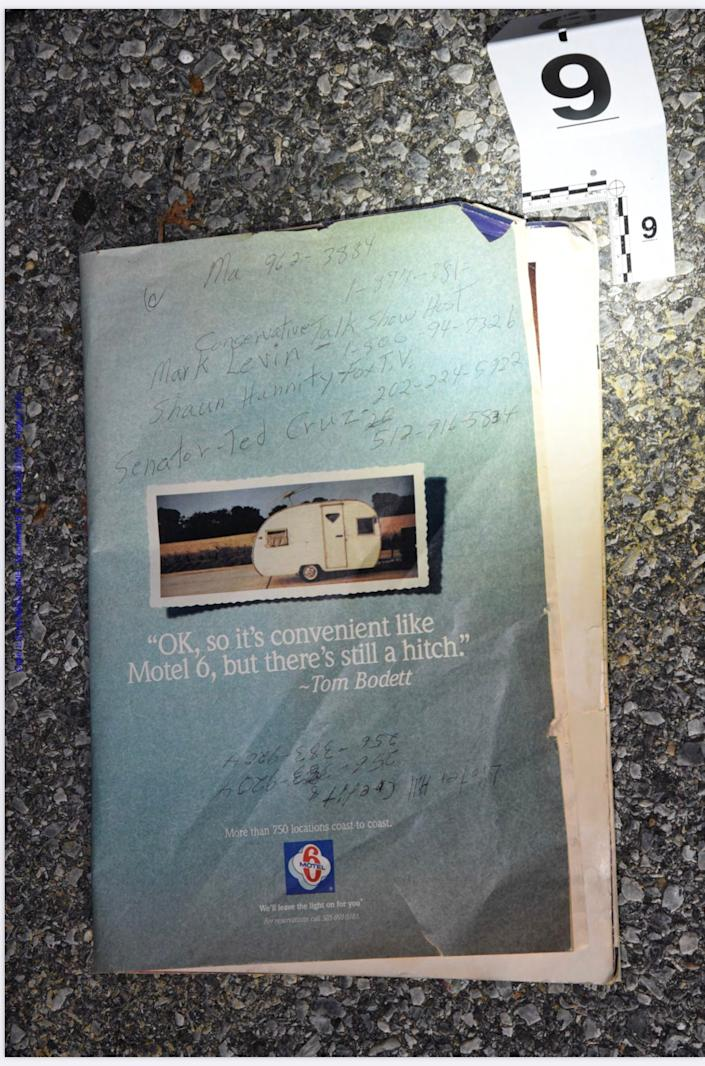 The folder carried by Lonnie Coffman, a Trump supporter at the Capitol riot, with numbers for Sen. Ted Cruz and conservatives media pundits written on the cover. He was found with 11 Molotov cocktails in his vehicle and two unregistered pistols. (US District Court )
