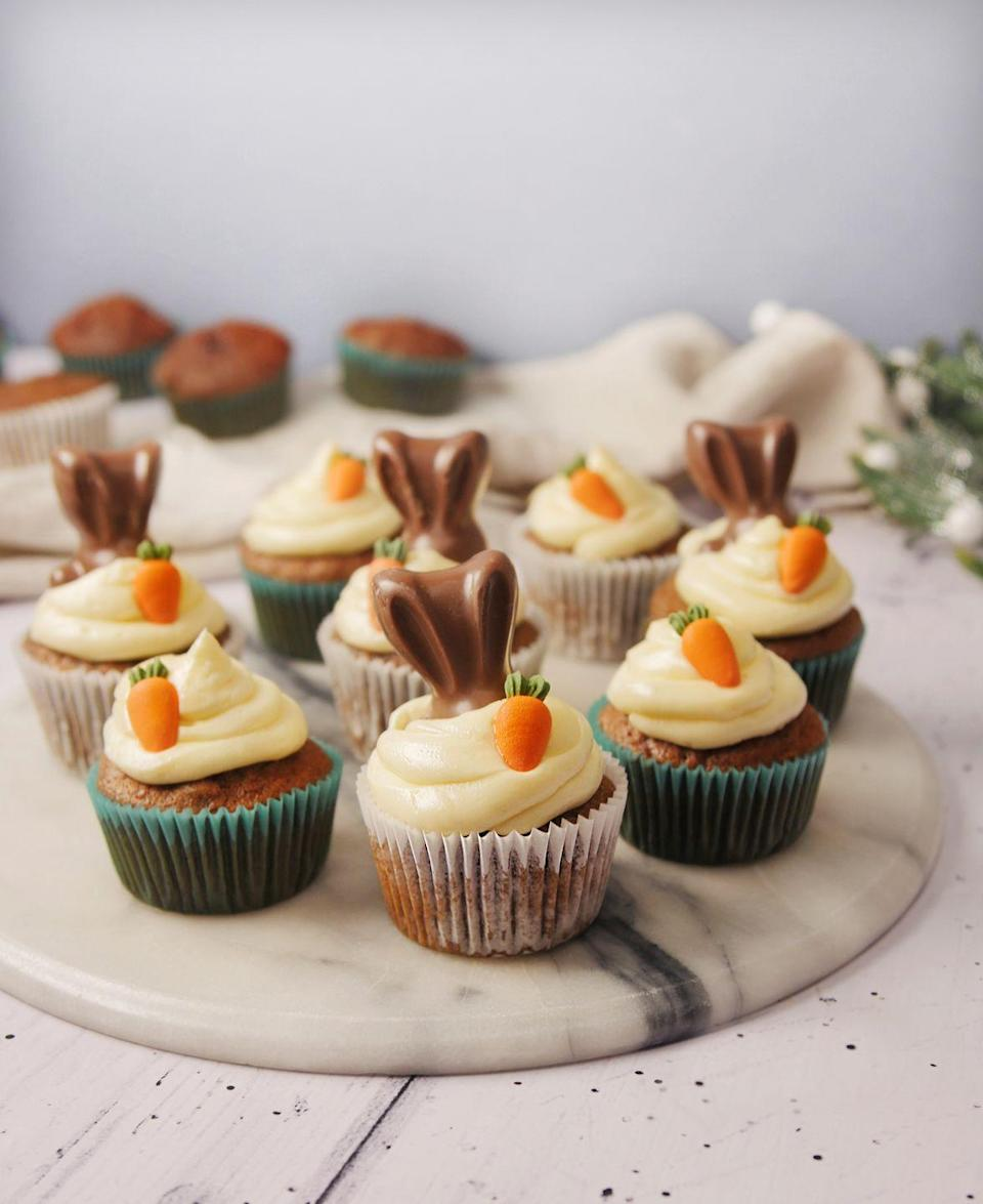 """<p>You need to try our gorgeous carrot cake cupcakes, topped with cream cheese frosting and Malteser bunnies - delicious!</p><p><strong><br>Recipe: <a href=""""https://www.goodhousekeeping.com/uk/food/recipes/a26640471/carrot-cake-cupcakes/"""" rel=""""nofollow noopener"""" target=""""_blank"""" data-ylk=""""slk:Carrot cake cupcakes"""" class=""""link rapid-noclick-resp"""">Carrot cake cupcakes</a></strong></p>"""