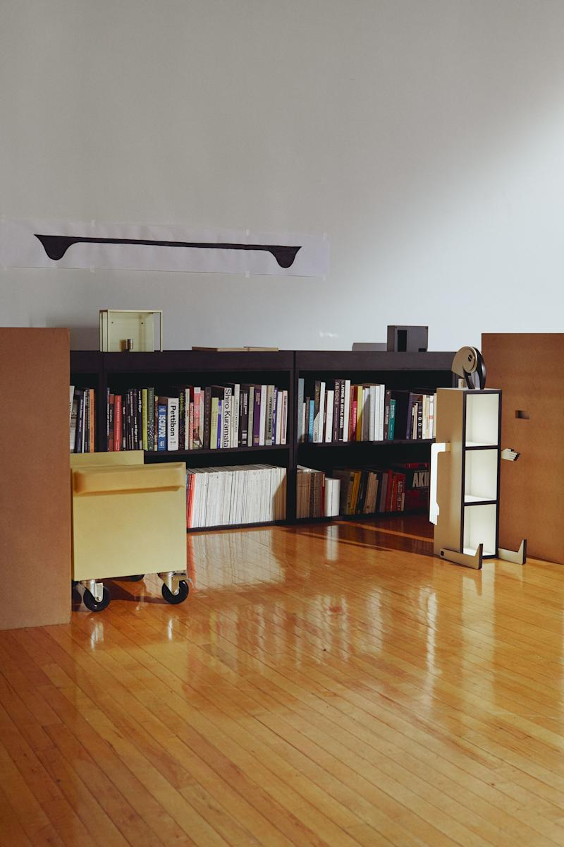 Material Lust's 2015 Amalgam shelf, created with Kinder Modern, next to the bookcase.