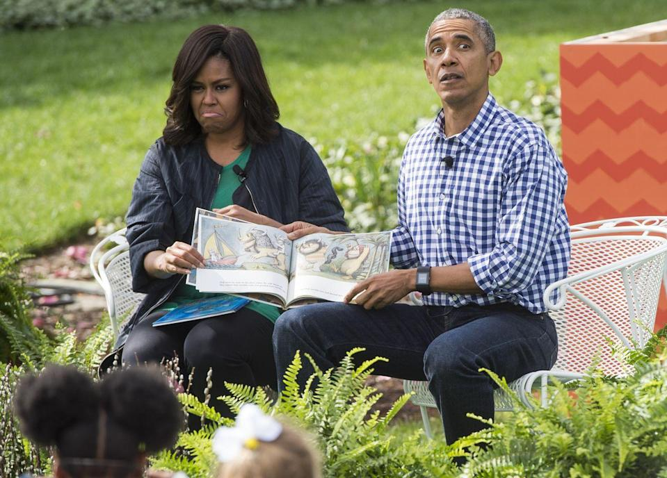 """<p>Let the wild rumpus begin! President Obama and First Lady Michelle Obama entertained a group of kids with a vivid reading of """"Where the Wild Things Are"""" on the South Lawn during the 2016 Easter Egg hunt. </p>"""
