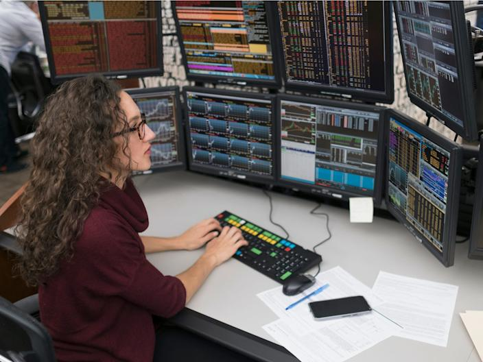 computer analyst looking at data