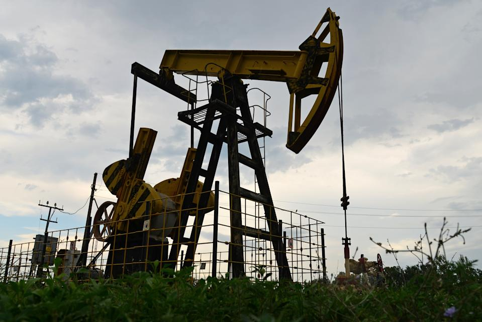 KRASNODAR TERRITORY, RUSSIA - JULY 17, 2020: A pumpjack at the Levkinskoye oil field. Igor Onuchin/TASS (Photo by Igor Onuchin\TASS via Getty Images)
