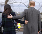 """FILE - In this file photo Britain's Prince Harry and his fiancee Meghan Markle arrive at Edinburgh Castle in Edinburgh, Scotland. In a stunning declaration, Britain's Prince Harry and his wife, Meghan, said they are planning """"to step back"""" as senior members of the royal family and """"work to become financially independent."""" A statement issued by the couple Wednesday, Jan. 8, 2020 also said they intend to """"balance"""" their time between the U.K. and North America. (AP Photo/Frank Augstein, File)"""