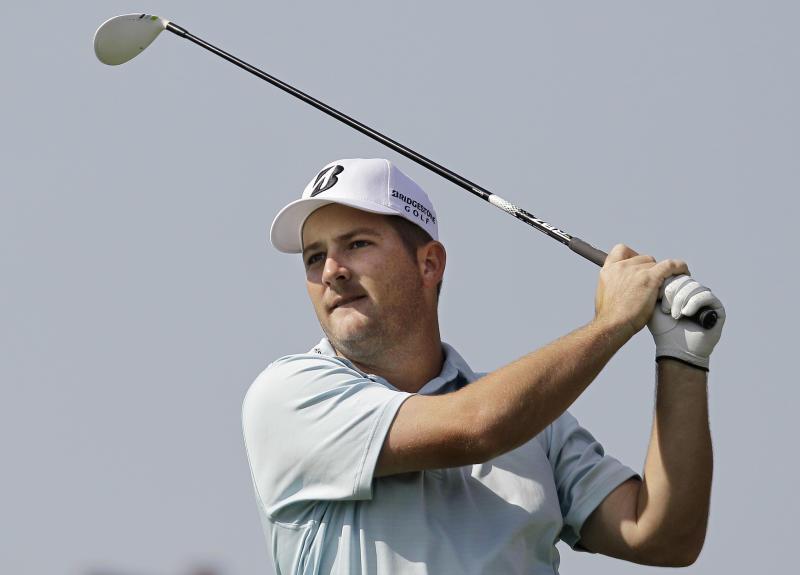 Matt Every watches his tee shot on the fourth hole during the second round of the Texas Open golf tournament on Friday, April 20, 2012, in San Antonio. (AP Photo/Eric Gay)