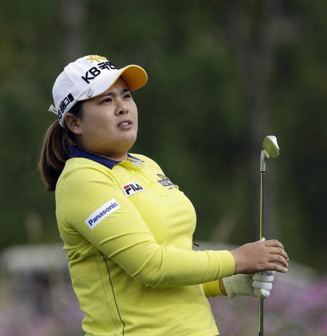 Inbee Park of South Korea watches her shot on the third hole during the second round of the KEB Hana Bank Championship golf tournament at Sky72 Golf Club in Incheon, west of Seoul, South Korea, Saturday, Oct. 19, 2013. (AP Photo/Lee Jin-man)