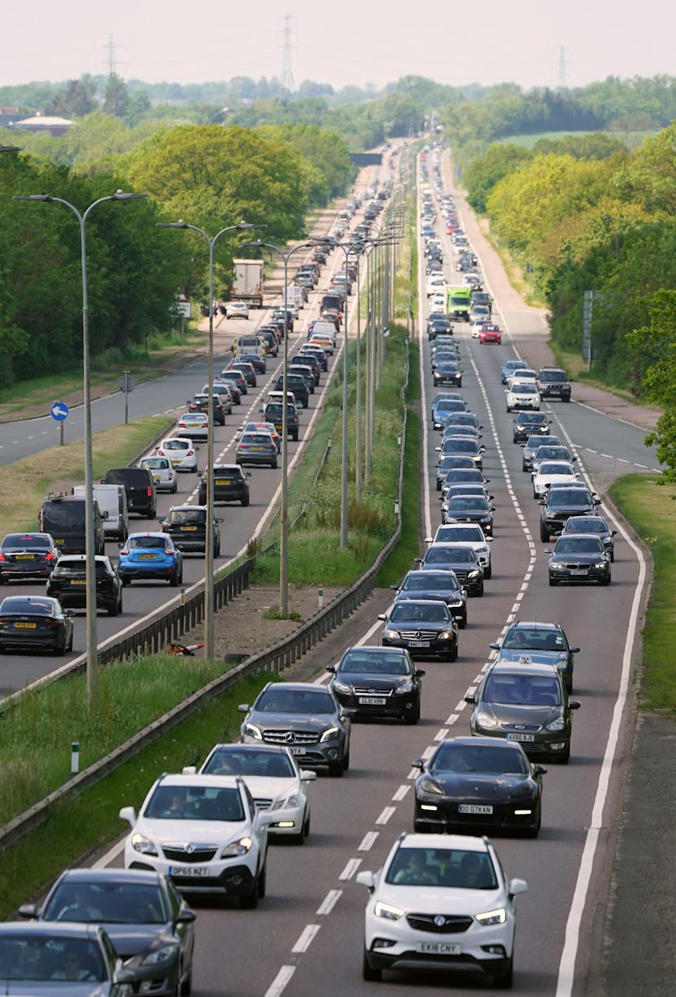 Heavy traffic on the A127 near Basildon in Essex (PA) (PA Wire)