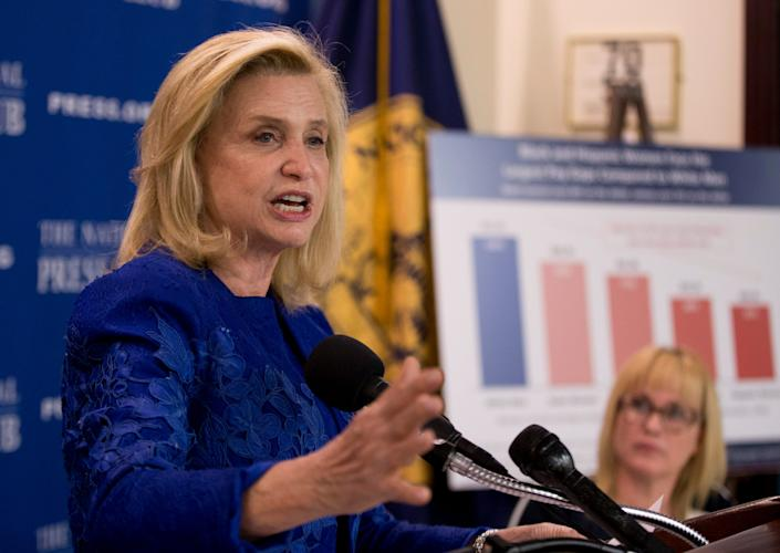 In this April 12, 2016 file photo, Rep. Carolyn Maloney, D-N.Y., speaks during a National Press Club Newsmaker news conference, on Equal Pay Day, at the National Press Club in Washington.