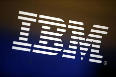The logo of IBM is seen in Los Angeles