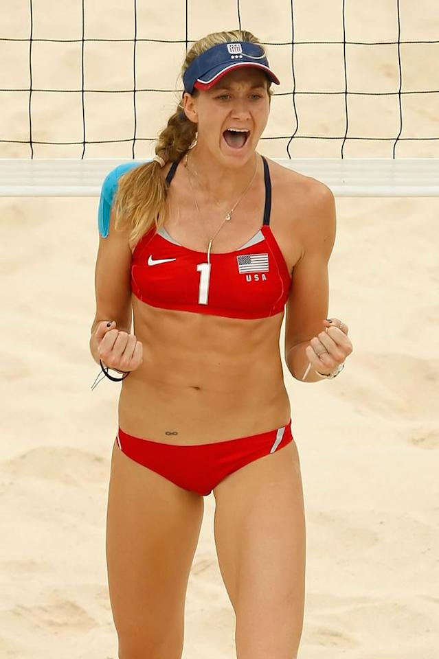 Kerri Walsh of the United States reacts as her and teammate Misty May-Treanor take on Larissa Franca and Ana Paula Conelly of Brazil compete in the women's quarterfinal beach volleyball match held at the Chaoyang Park Beach Volleyball Ground during Day 9 of the Beijing 2008 Olympic Games on August 17, 2008 in Beijing, China.