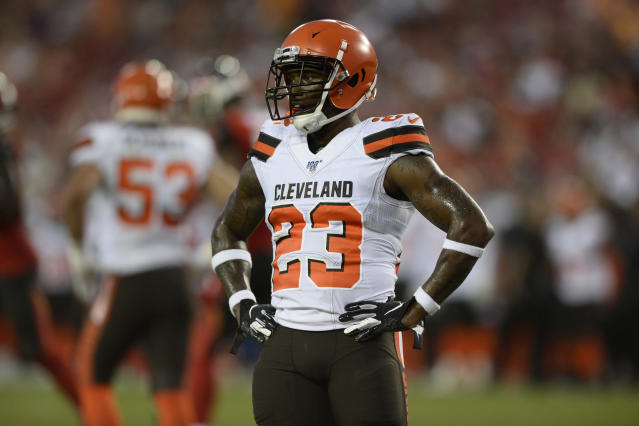FILE - In this Aug. 23, 2019, file photo, Cleveland Browns strong safety Damarious Randall (23) is shown during the first half of an NFL preseason football game against the Tampa Bay Buccaneers, in Tampa, Fla. The Browns could be missing several starters Sunday night when they face the defending NFC champion Los Angeles Rams. Tight end David Njoku (wrist), linebacker Christian Kirksey (chest), right tackle Chris Hubbard (foot) and safeties Damarious Randall (concussion) and Morgan Burnett (leg) missed practice Thursday, Sept. 19, 2019.(AP Photo/Jason Behnken, File)