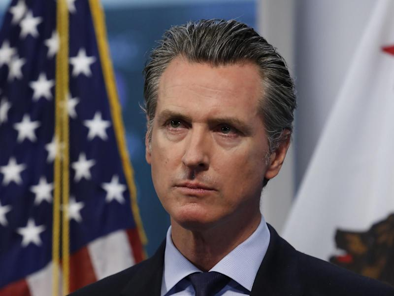 Gavin Newsom at a daily briefing: (2020 The Associated Press)