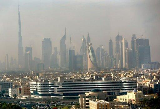 Part of the skyline of the city of Dubai in the early hours of the morning on November 20