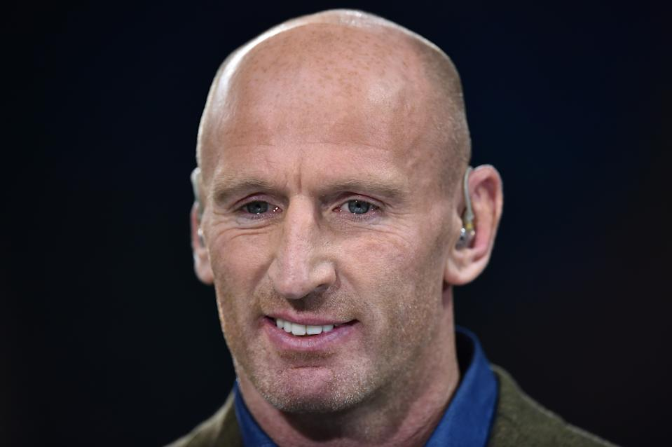 Welsh former rugby player Gareth Thomas looks on  prior to  a Pool A match of the 2015 Rugby World Cup between Wales and Fiji at the Millennium stadium in Cardiff, south Wales, on October 1, 2015.  AFP PHOTO / GABRIEL BOUYS  RESTRICTED TO EDITORIAL USE, NO USE IN LIVE MATCH TRACKING SERVICES, TO BE USED AS NON-SEQUENTIAL STILLS        (Photo credit should read GABRIEL BOUYS/AFP/Getty Images)