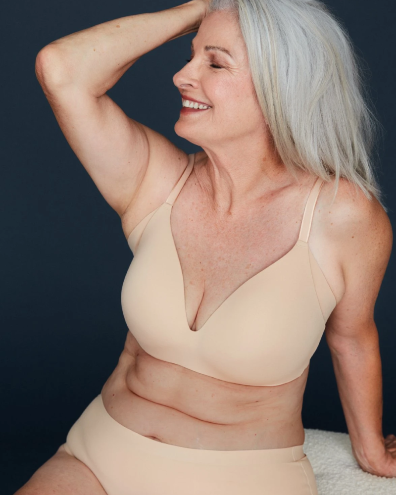 Knix has pioneered inclusivity by featuring women of all ages as models for their products, including their WingWoman Contour Bra. (Image via Knix).