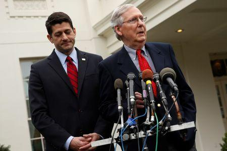 Ryan and McConnell speak to reporters after meeting with Trump at the White House in Washington